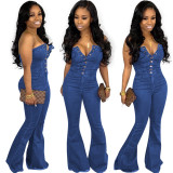 Women strapless single-breasted casual club slim bell-bottoms denim jumpsuit