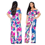 Women Boat Neck Ruffled Floral Print Casual Club Wide Legs Jumpsuit with Belt