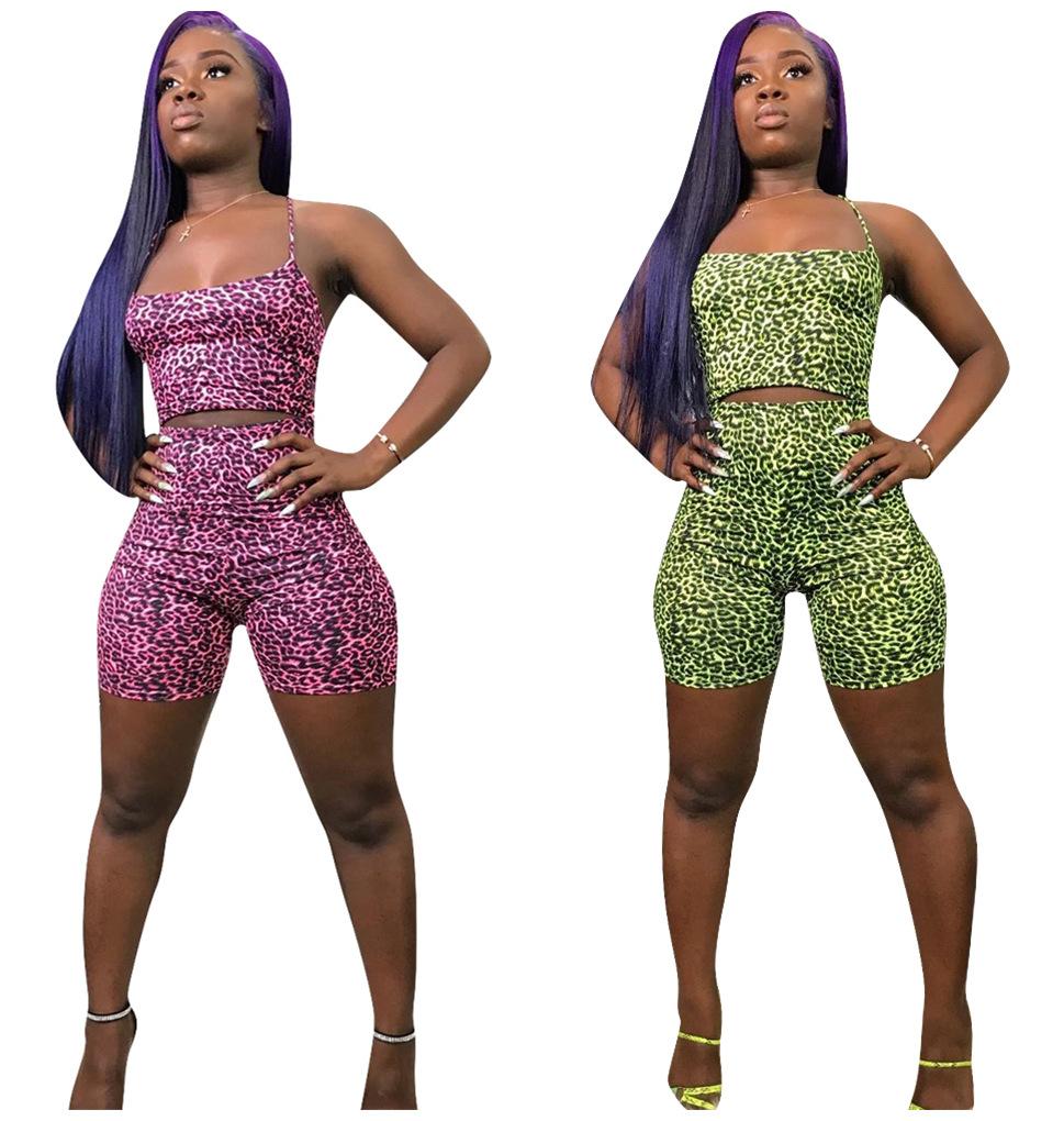 Women Spaghetti Strap Colorful Print Bodycon Club Jumpsuit Cropped Pants Set 2pc