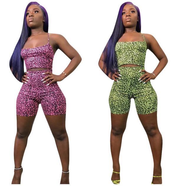 Women Sexy Spaghetti Strap Backless Leopard Print Bodycon Club Short Jumpsuit
