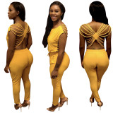 Women short sleeves solid color backless casual club long jumpsuit