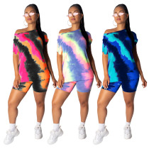 Women short sleeves Tie-Dyed print casual club party short jumpsuit outfits 2pc