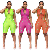 Women sleeveless zipper bodycon club party casual short sports jumpsuit