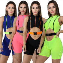 Women sleeveless zipper hollow out buckle casual club bodycon short jumpsuit