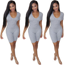 Women short sleeves rib cotton solid color club party bodycon short jumpsuit
