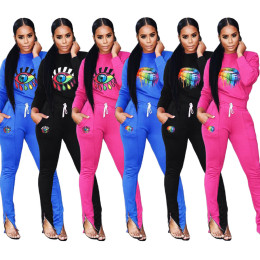 Women long sleeves colorful lips print casual sports long jumpsuit outfits 2pc