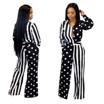 Women long sleeves turn down collar polka dot stripes patchwork casual jumpsuit