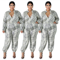Sexy Women Snakeskin Print Zipper Casual Long Plus Size Jumpsuits Rompers Club