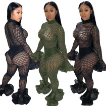 Women Long Sleeves Hollow Out Big Hole Net Bodycon Club Long Flare Jumpsuit