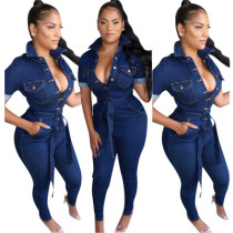 Women Short Sleeve Buttons Pockets Bodycon Casual Denim Jeans Jumpsuit with Belt