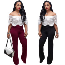 Women boat neck white lace patchwork casual club party elegant jumpsuit