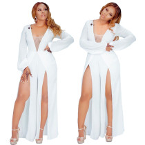 Women long sleeves V neck mesh patchwork casual club white high slit jumpsuit