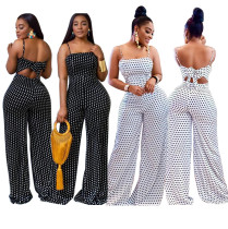 Women Spaghetti Strap Back Hollow Out Polka Dot Summer Wide Legs Long Jumpsuit