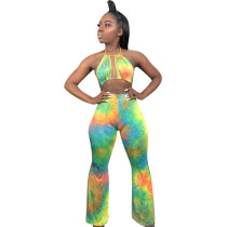 Women Halter Backless Hollow Out Tie-dyed Print Club Party Casual Jumpsuits