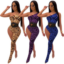 Women Oblique Sleeves Tiger Stripes Bodycon Club Party One Legs Jumpsuit Rompers