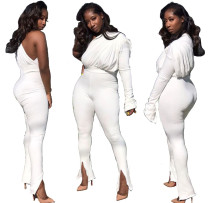 Women Sexy Sloping Shoulder Single Sleeves White Color Party OL Casual Jumpsuit
