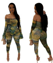 Women Sexy Boat Neck Long Flare Sleeves Digital Print Bodycon Jumpsuit Clubwear