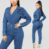 Women Long Sleeves V Neck Casual Club Party Denim Jeans Jumpsuit Playsuit
