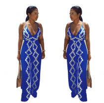Women's Spaghetti Strap V Neck Printed Backless Sexy Long Jumpsuit