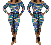 Women's Boat Neck Long Sleeves Printed Bodycon Cropped Jumpsuit