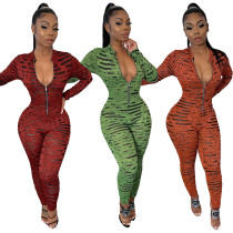 Women Sexy Long Sleeves Printed Zipper Tight Club Casual Jumpsuit
