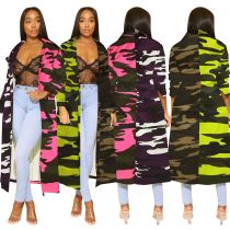 Women Long Sleeves Camouflage Print Patchwork Denim Jeans Casual Long Coat Dress