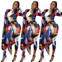 Women long sleeves cloak patchwork bodycon jumpsuit cute colorful geometric print slim rompers party casual clubwear jumpsuit