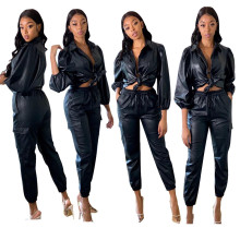 Women's Turn-down Collar Puff Sleeves Buttons Pockets Casual Solid PU Jumpsuit 2pcs
