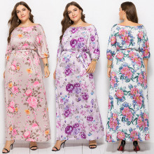 Elegant Women's 3/4 Sleeves Floral Print Belted Long Stretchy Dress Casual Party Wear