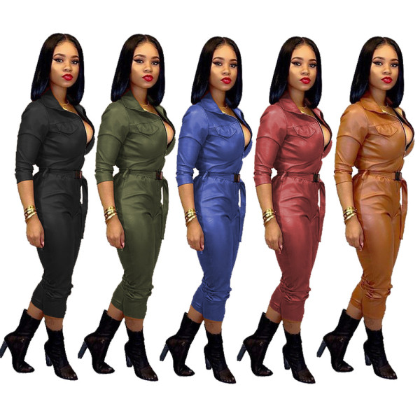 Fashion Women Casual Long Sleeves Solid Color PU Zipper Belted High-elastic Jumpsuit