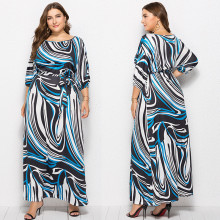 New Women's 3/4 Sleeves Colorful Stripe Print Casual Party Fashion Long Dress with Belt