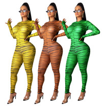 Sexy Women Long Sleeves Printed Zipper Bodycon Jumpsuit Clubwear