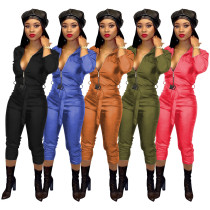 Women Fashion Solid Color High-elastic PU Zipper Long Sleeves Jumpsuit with Belt