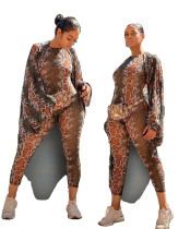 Fashion Women Snakeskin Print Long Sleeves Bodycon Jumpsuit+Cloak Casual Outfits 2pcs