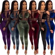 Women Sexy Cold Shoulder Mesh Patchwork Perspective Long Velvet Jumpsuit