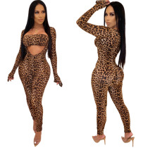 Women Sexy Leopard Print Vest+V Neck Long Sleeves Jumpsuit 2pcs