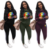 Women long sleeves colorful lips print sweats suits side stripes sports casual running winter fashion women's tracksuits