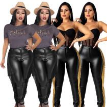 New Women Fashion Black Color Tassels Stretchy PU Pencil Pants Clubwear