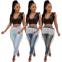 Fashion Women's Denim Tassels Ripped Skinny Long Jeans All-match