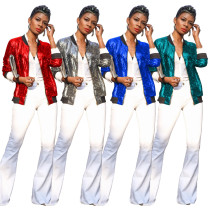 Fashion Women Long Sleeves Zipper Solid Sequins Coat Casual Outwear