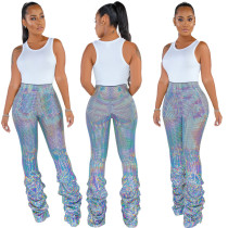 New Fashion Women High Waist Colorful Sequins Draped Long Pants Trousers