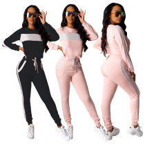 Fashion Women Long Sleeves Patchwork Pockets Casual Sporty Jumpsuit 2pcs