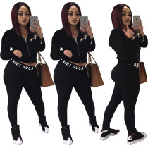 Women Sporty Hooded Long Sleeves Zipper Letter Print Black Color Outfits 2pcs