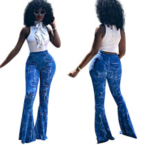 Fashion Women High Waist Printed Long Skinny Boot-cut Pants Trousers