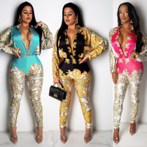 Women Deep V Neck Long Sleeves Printed Casual Club Party Long Jumpsuit