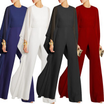 Women Sexy Solid Color Chiffon Patchwork Long Sleeves Party Wide Leg Jumpsuit