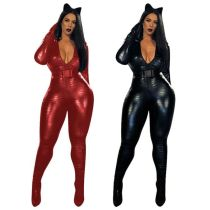 Women Long Sleeve Zipper Pattern Faux Leather Bodycon Club Party Belted Jumpsuit