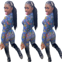Sexy Women Long Sleeves Colorful Snakeskin Print Bodycon Jumpsuit