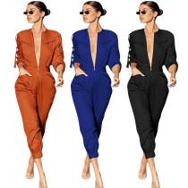 Women Long Sleeves Zipper Elastic Waist Casual Solid Color Jumpsuit Overalls