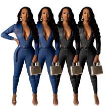 Women Turn-down Neck Long Sleeves Zipper Tassels Bodycon Denim Jumpsuit with Belt